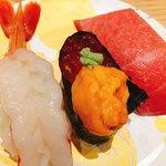 もりもり寿し - 料理写真:豪華三点盛り♡¥850(税抜) (赤えび・うにいくら・とろ )
