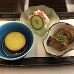 日本料理 花菊 - 前菜:虹鱒のタルタル 蛇の目胡瓜 帆立山椒煮 木の芽 丸十檸檬風味煮