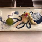 日本料理 花菊 - 焼物:鮎うるか風味道明寺包み焼き 翡翠梅 はじかみ