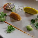 ル・スケアクロウ - 料理写真:オックステールと野菜のテリーヌ、ココナッツとかぼちゃのクーリとコリアンダーと人参のクーリ
