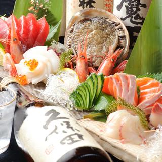 直送鮮魚や産直野菜などの技法が様々な料理の数々