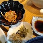 宮崎風土 くわんね - [料理] 切り干し大根の明太子和え・お新香⒉種・刺身醤油