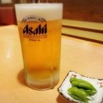 """かつ雅 - 生ビール""""大"""" 枝豆"""
