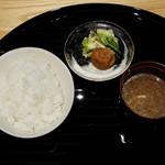 銀座つる - ご飯、オニオンスープ、香の物