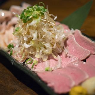 豚小家 - 料理写真:2018.7 もつ刺し5点盛り(1,200円)はつ、たん、はらみ、りんげる、がつ