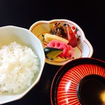 旅亭 嵐月 - お食事、京都のお漬物も種類沢山で。