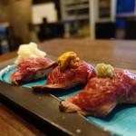 池袋 肉バルBon - ☆【池袋 肉バルBon】さん…和牛炙り3貫握り(≧▽≦)/~♡☆