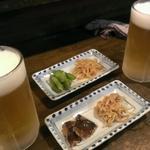 菊仙 - 生ビール  お通し