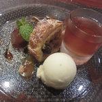 シャルボン - デザート3種盛り ゆずシャーベット、アップルパイ、梅酒のゼリー(中に巨峰が入ってました)