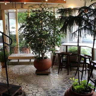 植物とアンティークに囲まれた空間