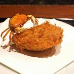 鉄板焼き いわ倉 - づけのカツオのフライ 沢蟹を添えて