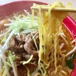 二代目 男寿狼 - 鶏もつ味噌ラーメン 麺アップ