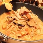 カパンナ - 薄切り豚カルビと揚げナスのスパゲティ,まろやか塩麹ソースのガーリック風味