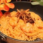 カパンナ - ぷりぷり海老とキノコのスパゲティ,リッチテイストなトマトクリーム