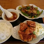 開々亭 - 肉茄子ピーマンの炒めと唐揚げ定食