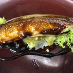煮穴子と焼き茄子、生姜のタルタル バルサミコソース