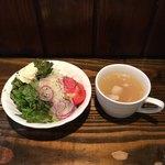 京洋食文吉 - セットのスープとサラダ('18/07/28)
