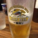 麺ダイニング 福 - ♦︎生ビール 500円       量はしっかり中ジョッキ!