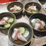 焼鳥 水炊き ふくの鳥 - 阿波尾鶏ささみの酢の物