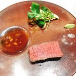 なかがわ 本店 - 鹿児島黒毛和牛の炭火焼き、もろみソース、山葵塩、山椒