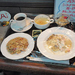 ケヤキ - Aランチ(シーフードクリームパスタ、カレーピラフ、チキンコンソメスープ、フルーツポンチ、きゅうり漬)
