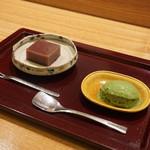 日本料理 太月 - 水羊羹に抹茶アイス