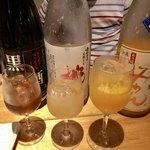 地酒・海鮮居酒屋 灯 - 果実酒利き酒セット3種980円黒糖杏子酒・桃酒・みかん酒