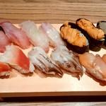すし玉 - すし玉@ルミネ横浜店 うに、かにみそ、赤貝、いさき、とり貝、ほっき貝、たい、