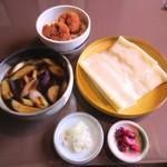 90022880 - なす付け汁のひもかわ&ミニソースカツ丼
