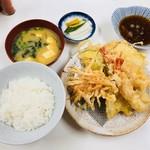 天ぷら定食ふじしま - 海老天付 天ぷら定食 ご飯小(800円)