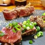 遠州屋本店 高尾 - 料理写真:ミディアムレアで牛ハツステーキ 680円