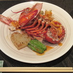 鉄板焼 りんどう - 活きオマール海老とハート形の大根添え