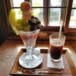 90033095 - サマースペシャルパフェとアイスコーヒー