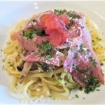 レストラン タガミ - パスタ 生ハムと茸のオイルソースンチーノ
