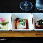 90044191 - 冷菜三味竹盆 本日の前菜三種