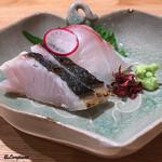 日本料理 e. - 鰆の炙りと真鯛の造り