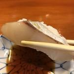 岩佐寿し - 縞鰺アップ。脂がありながらもさっぱりしていて、最近お気に入りです(╹◡╹)