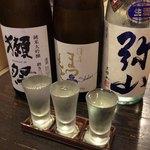 オールナイト 焼鳥 戸高 - 日本酒飲み比べセットB 1400円