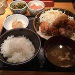 90058986 - 明太子風 唐揚げ定食¥1000 高菜と明太子と白飯おかわり自由。