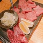 焼肉やいち - やいち盛りのネギ上タン塩と厚切りハラミステーキ