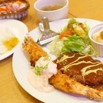 ハラナ - 2018年5月 ジャンボ海老フライ&ハンバーグ定食【1250円】