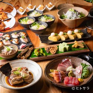 和のコース料理で〆にラーメン、そんな宴会ができる