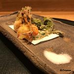 和食 なり - 才巻き海老、コゴミ、たらの芽の天ぷらの三点盛