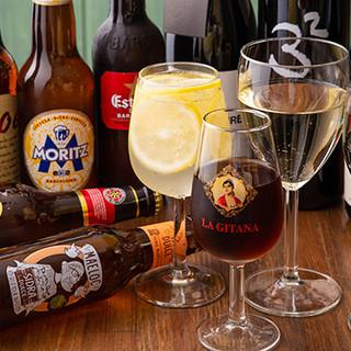 本場のスペインビールやワイン、シェリー酒など豊富な品揃え♪