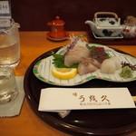 うお久 - 料理写真:お造り盛り合わせ & 冷酒(秋鹿)