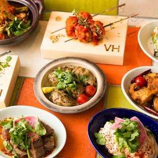 新鮮な野菜を使用したヘルシーなエスニック料理をご堪能ください
