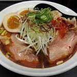 辛口肉ソバ ひるドラ - 【(限定) 冷やし肉そば + 味玉】¥850 + ¥120