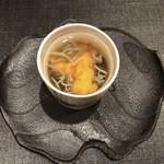 すし昇 - 青森のじゅん菜、モズクと雲丹のトマトスープ仕立て