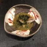 すし昇 - 甘鯛焼き浸し焼鮑添え アオサと鮑の肝ソース