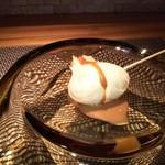 ristorante Tsurunosou - ホタテのベニエ、西京味噌と黒ビールのソース